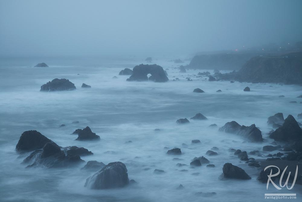 Foggy Evening at Arched Rock Beach, Sonoma Coast SB, California