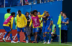 SAINT PETERSBURG, RUSSIA - Friday, June 22, 2018: Brazil's Philippe Coutinho Correia (#11) celebrates scoring the first goal with team-mates Willian Borges da Silva (left) and Neymar da Silva Santos Júnior (right) during the FIFA World Cup Russia 2018 Group E match between Brazil and Costa Rica at the Saint Petersburg Stadium. (Pic by David Rawcliffe/Propaganda)