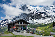 "Kleine Scheidegg pass, in the Berner Oberland, Switzerland, the Alps, Europe. The world's longest continuous rack and pinion railway (Wengernalpbahn) goes from Grindelwald up to Kleine Scheidegg and down to Wengen and Lauterbrunnen. From Kleine Scheidegg, Jungfraubahn ascends steeply inside the Eiger to Jungfraujoch, the highest railway station in Europe. UNESCO honors ""Swiss Alps Jungfrau-Aletsch"" on the list of World Heritage Areas."
