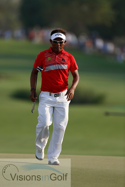 Thongchai Jaidee<br /> during the second round of the Race To Dubai DP World Tour Golf Championship, Dubai, UAE November  2013<br /> Picture Credit:  Mark Newcombe / www.visionsingolf.com
