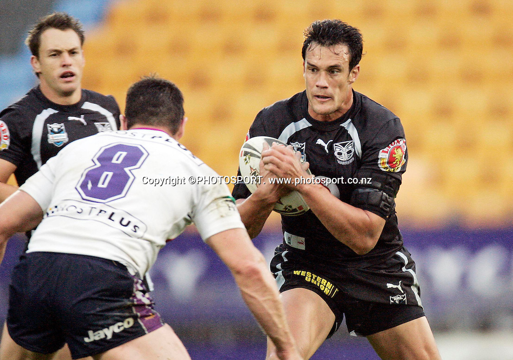 Warriors 2nd rower Logan Swann in action during the NRL rugby league match between the Warriors and the Melbourne Storm at Mt. Smart Stadium, Auckland, New Zealand on Sunday 10 June 2007. The Melbourne Storm won the match 4 - 2. Photo: Renee McKay/PHOTOSPORT **NO COMMERCIAL USE **