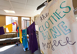 Clothesline Project at PLU on Monday, April 18, 2016. (Photo: John Froschauer/PLU)