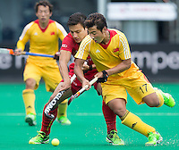 ANTWERP -   Thomas Briels from Belgium with Liguang E (r)  during  the match of the men  Belgium v China.  WSP COPYRIGHT KOEN SUYK