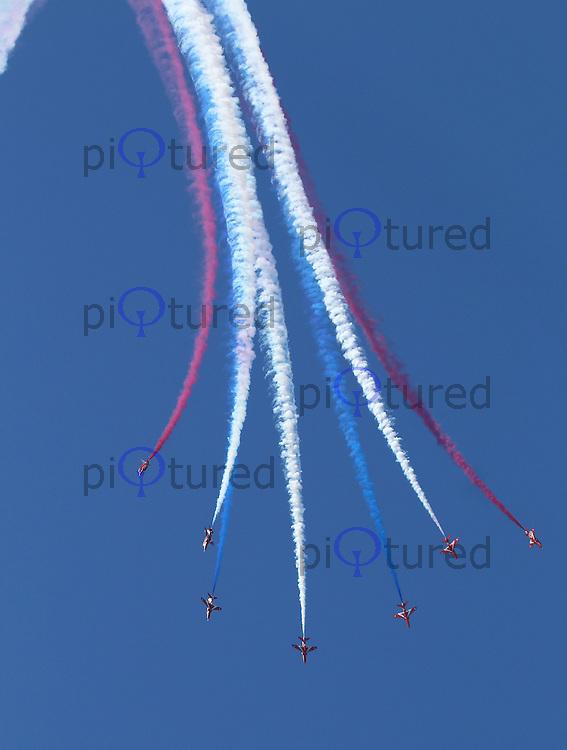 Royal Air Force Red Arrows Display Team, Farnborough International Airshow, Farnborough Airport UK, 18 July 2014, Photo by Richard Goldschmidt