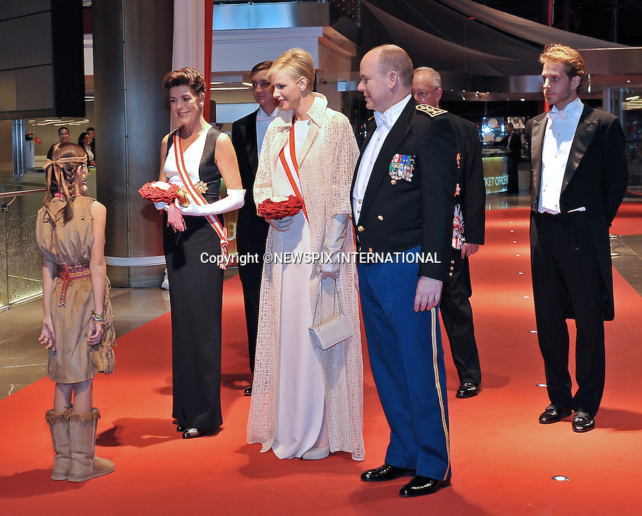 "PRINCE ALBERT AND PRINCESS CHARLENE .attend the Opera at the Grimaldi Forum together with other members of the Monaco Royal Family, on the occasion of the National Day, Monte Carlo, Monaco_19/11/2012.Mandatory Credit Photos: ©NEWSPIX INTERNATIONAL..**ALL FEES PAYABLE TO: ""NEWSPIX INTERNATIONAL""**..PHOTO CREDIT MANDATORY!!: NEWSPIX INTERNATIONAL(Failure to credit will incur a surcharge of 100% of reproduction fees)..IMMEDIATE CONFIRMATION OF USAGE REQUIRED:.Newspix International, 31 Chinnery Hill, Bishop's Stortford, ENGLAND CM23 3PS.Tel:+441279 324672  ; Fax: +441279656877.Mobile:  0777568 1153.e-mail: info@newspixinternational.co.uk"