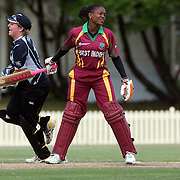 Stacy-Ann King is bowled much to the delight of New Zealand wicket keeper Rachel Priest during the West Indies V New Zealand group A match at Bankstown Oval  in the ICC Women's World Cup Cricket Tournament, in Sydney, Australia on March 10, 2009. New Zealand won by 56 runs. Photo Tim Clayton