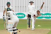 Gareth Berg bowling during the Specsavers County Champ Div 2 match between Leicestershire County Cricket Club and Northamptonshire County Cricket Club at the Fischer County Ground, Grace Road, Leicester, United Kingdom on 10 September 2019.