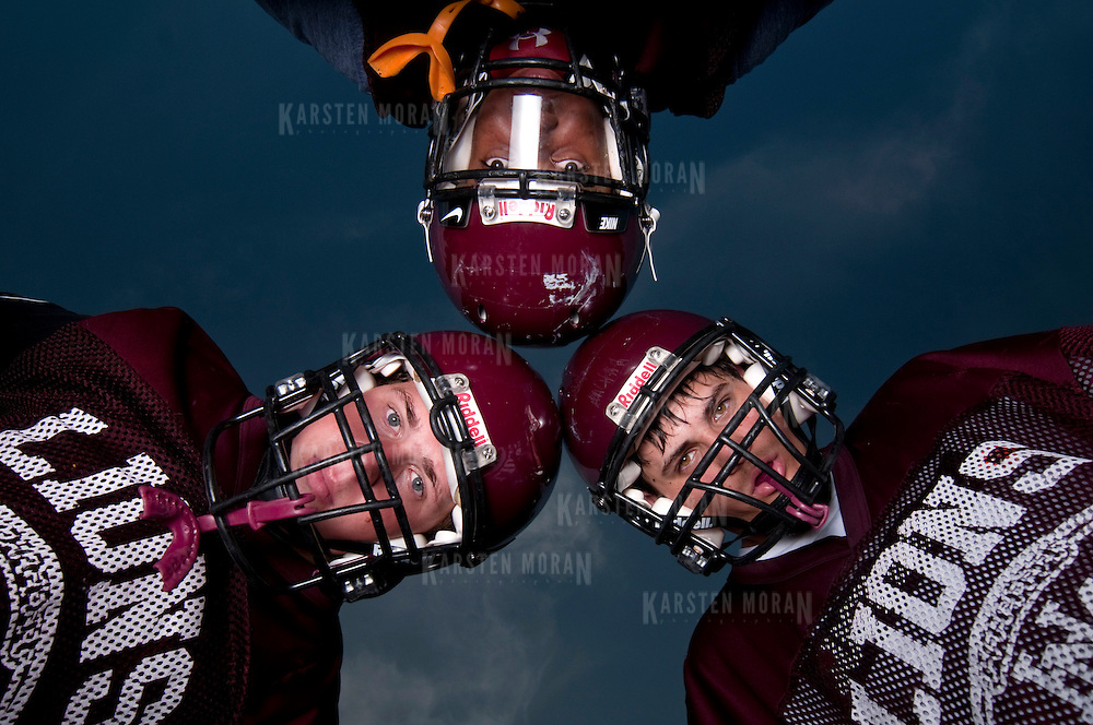 September 2, 2010 - Bronx, NY : The Horace Mann Lions football team works out the kinks in their game and gets into shape. Football preview pictures 2010-2011 season. SPORTS PORTRAIT of co-captains  (clockwise from top) Braxton Brewton, Matt Fondacaro and Eddy Grafstein.