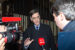 Jacob Rees-Mogg MP talks to the Media outside the Houses of Parliament in London as MPs debate the Prime Minister's Brexit deal. London, January 15 2019.