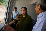 Dr. Vandana Shiva chats about the university's expansion projects as she chats with the Dean in a University in Solan, Himachal Pradesh, India, on 7th September 2009...Dr. Vandana Shiva, the founder of Navdanya Foundation and Bijavidyapeeth, is a physicist turned environmentalist who campaigns against genetically modified food and teaches farmers to rely on indigenous farming methods.. .Photo by Suzanne Lee / For The National