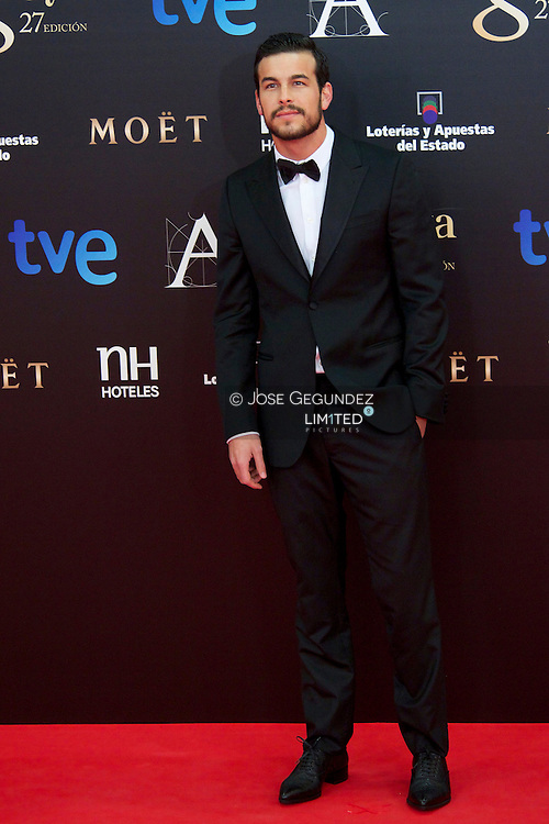 Mario Casas arrives to Goya Cinema Awards 2013 ceremony, at Auditorium Hotel on February 17, 2013 in Madrid, Spain