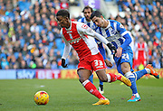 Birmingham City's Demarai Gray on the ball during the Sky Bet Championship match between Brighton and Hove Albion and Birmingham City at the American Express Community Stadium, Brighton and Hove, England on 21 February 2015. Photo by Phil Duncan.