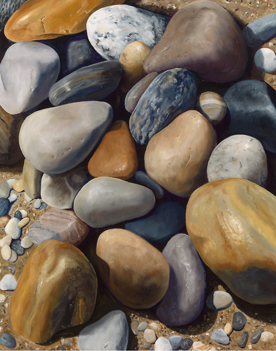 Earth toned rocks form a naturally peaceful assemblage, and one can almost smell the salt air. <br />