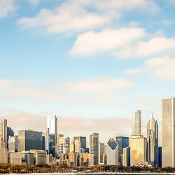 High resolution large picture of Chicago skyline with the most popular Chicago buildings inluding the Willis Tower (Sears Tower), Trump Tower, and John Hancock Center building. Image is ultra high resolution at 36MP.