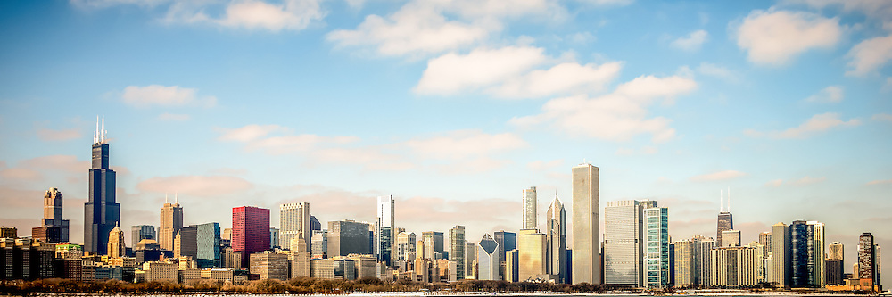 High Resolution Large Picture Of Chicago Skyline With The Most Popular Buildings Inluding Willis