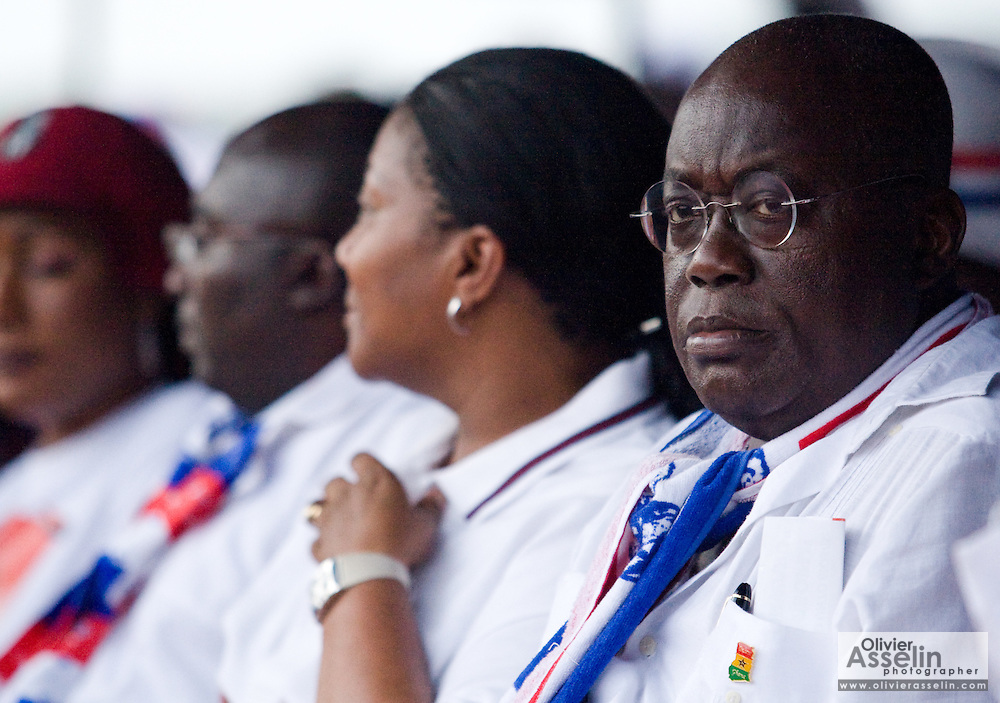 Presidential hopeful Nana Akufo-Addo, right, looks on during a campaign rally organized by the New Patriotic Party (NPP), the party currently holding power, in Ghana's capital Accra on Friday December 5, 2008. Ghanaians are voting in a presidential election on December 7 as incumbent John Agyekum Kufuor is to step down after ruling for 2 consecutive 4-year terms.
