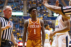 Feb 20, 2017; Morgantown, WV, USA; Texas Longhorns guard Andrew Jones (1) argues a call during the first half against the West Virginia Mountaineers at WVU Coliseum. Mandatory Credit: Ben Queen-USA TODAY Sports