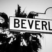 Beverly Boulevard street sign black and white picture in Beverly Hills California. Beverly Hills is an affluent city in Southern California in the United States.