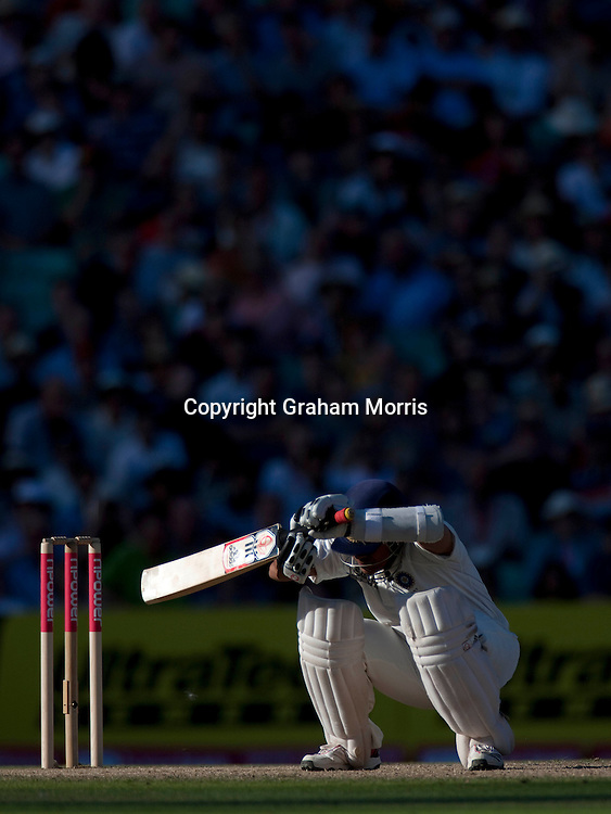 Sachin Tendulkar ducks a Tim Bresnan bouncer during the fourth and final npower Test Match between England and India at the Oval, London.  Photo: Graham Morris (Tel: +44(0)20 8969 4192 Email: sales@cricketpix.com) 21/08/11