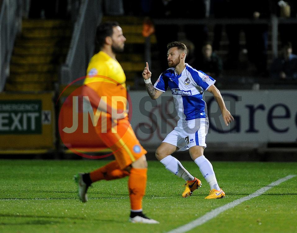 Matty Taylor of Bristol Rovers celebrates the goal - Mandatory byline: Neil Brookman/JMP - 07966 386802 - 06/10/2015 - FOOTBALL - Memorial Stadium - Bristol, England - Bristol Rovers v Wycombe Wanderers - JPT Trophy
