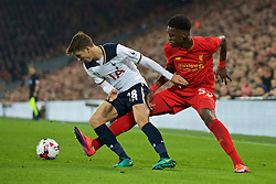 LIVERPOOL, ENGLAND - Tuesday, October 25, 2016: Liverpool's Oviemuno Ejaria in action against Tottenham Hotspur's Tom Carroll  during the Football League Cup 4th Round match at Anfield. (Pic by David Rawcliffe/Propaganda)