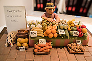 Marzipan vegetable stall art. Lunch at Ghyllfoot Tea Room & Bistro in Gunnerside. We followed the River Swale via meadows, woods, and villages, on our walk from Keld to Reeth in Yorkshire Dales National Park, England, United Kingdom, Europe. England Coast to Coast hike day 8 of 14. [This image, commissioned by Wilderness Travel, is not available to any other agency providing group travel in the UK, but may otherwise be licensable from Tom Dempsey – please inquire at PhotoSeek.com.]