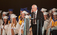Inter Lakes High School commencement speaker Charles Bates shares some insights with graduates during the graduation ceremony at Meadowbrook Pavilion Friday evening.   (Karen Bobotas/for the Laconia Daily Sun)