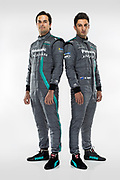 L-R, Nelson Piquet Jr and Mitch Evans (NZL) are confirmed as drivers for upcoming season.<br /> Panasonic Jaguar Racing - CHARGE LIVE EVENT at Whitely Engineering Centre, Warwickshire, UK on Thursday 21 September 2017<br /> Photo: LAT / Panasonic Jaguar Racing