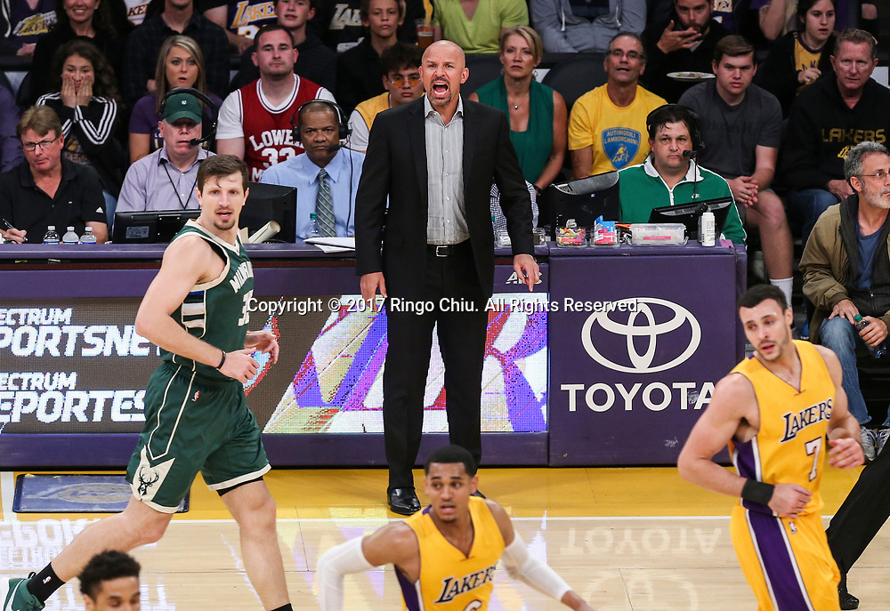 Milwaukee Bucks head coach Jason Kidd yells to teammates during an NBA basketball game against Los Angeles Lakers, Friday, March 17, 2017.(Photo by Ringo Chiu/PHOTOFORMULA.com)<br /> <br /> Usage Notes: This content is intended for editorial use only. For other uses, additional clearances may be required.