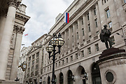The flag of the Russian Federation, a metaphor for Russian money and investment in the UK capital, hangs above Cornhill in the City of London, the capital's financial district, on 14th March 2018, in London England.