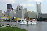 PITTSBURGH - SEPTEMBER 7:  A general view of the river, bridge, paddle boat, and downtown area prior to the Pittsburgh Steelers game against the Miami Dolphins at Heinz Field on September 7, 2006 in Pittsburgh, Pennsylvania. The Steelers defeated the Dolphins 28-17. ©Paul Anthony Spinelli