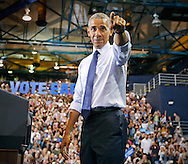 President Obama arrives at a campaign rally for Hillary Clinton and democrats at Florida International University Arena on Thursday, November 3, 2016.