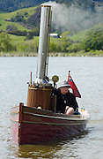 A classic steam powered boat on Lake Hakanoa, Huntly, New Zealand.