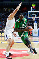 Real Madrid's player Gustavo Ayon and Panathinaikos's player James Gist during match of Turkish Airlines Euroleague at Barclaycard Center in Madrid. November 16, Spain. 2016. (ALTERPHOTOS/BorjaB.Hojas)
