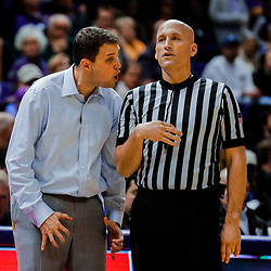 Jan 13, 2018; Baton Rouge, LA, USA; LSU Tigers head coach Will Wade argues with a referee during the second half against the Alabama Crimson Tide at the Pete Maravich Assembly Center. Alabama defeated LSU 74-66.  Mandatory Credit: Derick E. Hingle-USA TODAY Sports