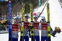 Hopp , PLANICA,SLOVENIA,19.MAR.16 - NORDIC SKIING, SKI JUMPING, SKI FLYING - FIS World Cup Final, ski flying hill, team competition, men.  Image shows Daniel Andre Tande (NOR), Anders Fannemel (NOR), Kenneth Gangnes (NOR) and Johann Andre Forfang (NOR). <br /> Norway only