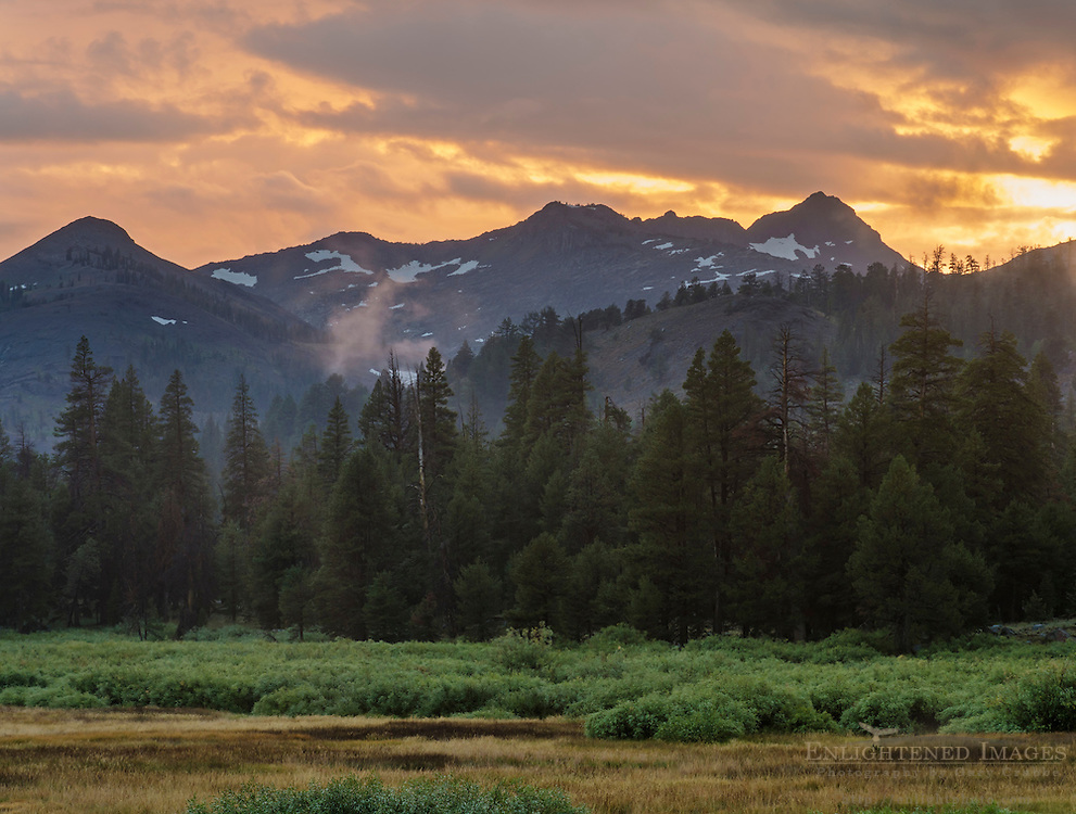 Clearing storm at sunset over mountains, forest, and meadow, Faith Valley, Alpine County, California