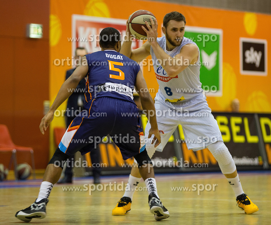 18.11.2015, Walfersamhalle, Kapfenberg, AUT, FIBA Europe Cup, ece Bulls Kapfenberg vs Le Havre, im Bild Henry Dugat (Le Havre), Mirza Ahmetbasic (Bulls Kapfenberg) // during the FIBA Europe Cup, between ece Bulls Kapfenberg and Le Havre at the Sportscenter Walfersam, Kapfenberg, Austria on 2015/11/18, EXPA Pictures © 2015, PhotoCredit: EXPA/ Dominik Angerer