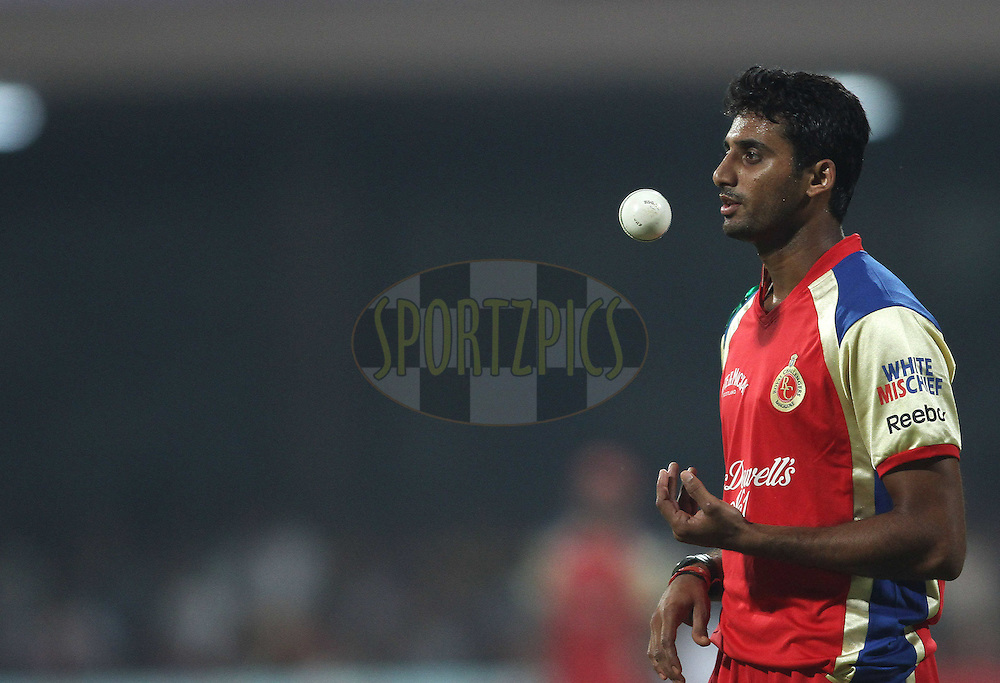 Sreenath Aravind of Royal Challengers Bangalore during match 1 of the NOKIA Champions League T20 ( CLT20 )between the Royal Challengers Bangalore and the Warriors held at the  M.Chinnaswamy Stadium in Bangalore , Karnataka, India on the 23rd September 2011..Photo by Shaun Roy/BCCI/SPORTZPICS