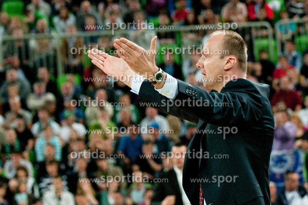 Jure Zdovc (head coach of Union Olimpija) upset about referees during final match of Basketball NLB League at Final Four tournament between KK Union Olimpija (SLO) and Partizan Belgrade (SRB), on April 21, 2011 at SRC Stozice, Ljubljana, Slovenia. (Photo By Matic Klansek Velej / Sportida.com)