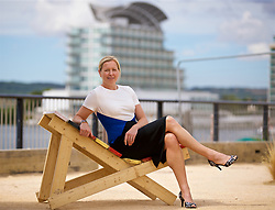CARDIFF, WALES - Thursday, August 9, 2018: Wales manager Jayne Ludlow poses for a portrait after announcing her squad for the final FIFA Women's World Cup 2019 Qualifying Round Group 1 match against England at the Eisteddfod in Cardiff Bay. (Pic by David Rawcliffe/Propaganda)