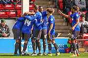 Bury players celebrate Craig Jones opening goal during the Sky Bet League 1 match between Walsall and Bury at the Banks's Stadium, Walsall, England on 5 September 2015. Photo by Shane Healey.