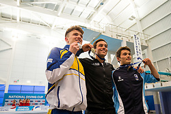 The Mens 10m Platform Final medallister, L-R, Silver, Matty Lee from City of Leeds Diving Club, Gold, Tom Daley from Dive London Aquatics Club and Bronze, Daniel Goodfellow from Plymouth Diving - Mandatory byline: Rogan Thomson/JMP - 24/01/2016 - DIVING - Southend Swimming & Diving Centre - Southend-on-Sea, England - British National Diving Cup Day 3.