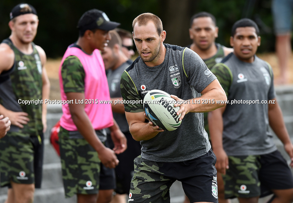 Simon Mannering during a Vodafone Warriors NRL rugby league training session. Mt Smart Stadium, Auckland. 22 January 2015. Copyright Photo: Andrew Cornaga/www.photosport.co.nz
