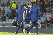 James Forrest (Celtic) leaves the pich following his treatment during the UEFA European 2020 Qualifier match between Scotland and Kazakhstan at Hampden Park, Glasgow, United Kingdom on 19 November 2019.