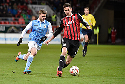 02.03.2015, Audi Sportpark, Ingolstadt, GER, 2. FBL, FC Ingolstadt 04 vs TSV 1860 M&uuml;nchen, 23. Runde, im Bild Stepahn Hain (TSV 1860 Muenchen), Benjamin Huebner (FC Ingolstadt), v.li. Aktion // during the 2nd German Bundesliga 23rd round match between FC Ingolstadt 04 and TSV 1860 M&uuml;nchen at the Audi Sportpark in Ingolstadt, Germany on 2015/03/02. EXPA Pictures &copy; 2015, PhotoCredit: EXPA/ Eibner-Pressefoto/ Buthmann<br /> <br /> *****ATTENTION - OUT of GER*****