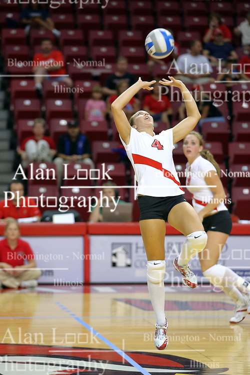 18 AUG 2007: Erin Lindsey sets the ball to a player behind her. The Illinois State Redbirds, picked for 5th in the pre-season Missouri Valley Conference coaches poll, prepare for the beginning of the season during the annual Red/White inter-squad scrimmage at Redbird Arena in Normal Illinois.