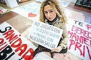 Sonia Martin, a surgical nurse of the Hospital La Princesa, against the privatization of the public health in Spain