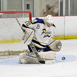 """FORT FRANCES, ON - May 1, 2015 : Central Canadian Junior """"A"""" Championship, game action between the Fort Frances Lakers and the Toronto Patriots, semi-final game of the Dudley Hewitt Cup. Mathew Robson #20 of the Toronto Patriots makes the save during the second period.<br /> (Photo by Shawn Muir / OJHL Images)"""