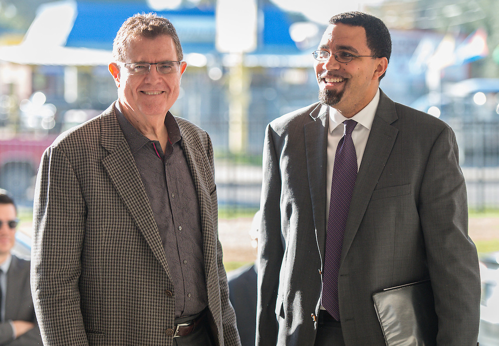 Houston ISD Superintendent Dr. Terry Grier, left, greets Acting US Secretary of Education John King, right, for a visit to Sharpstown High School, January 15, 2016.